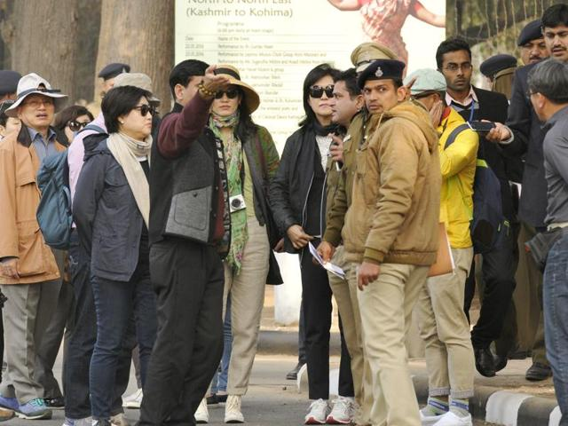 Tourists at Government Museum and Art Gallery, Sector 10, in Chandigarh on Saturday.