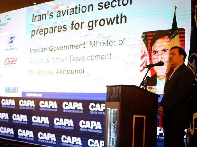 Iranian minister of transportation Abbas Ahmad Akhoundi speaks during the CAPA 2016 Iran Aviation Summit in Tehran.