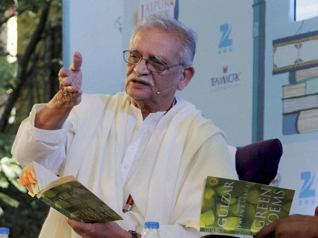 Lyricist and poet Gulzar during the Jaipur Literature Festival at Diggi Palace in Jaipur.