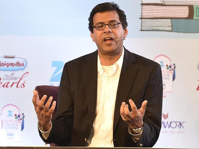 US-based surgeon, writer and public health researcher Atul Gawande with Arathi Prasad speaking at a session titled Being Mortal at the Jaipur Literature Festival in Jaipur on Sunday.(Sanjeev Verma/HT Photo)