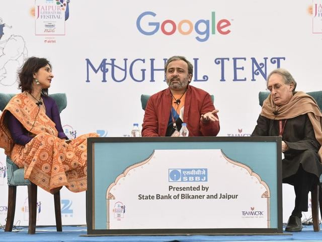 Author Anuja Chauhan (left), with Jai Arjun Singh (centre), and Rauf Ahmed during the session Jaane Kahaan Gaye Who Din: New Books on Old Bollywood at the Jaipur Literature Festival 2016 in Jaipur on Sunday.
