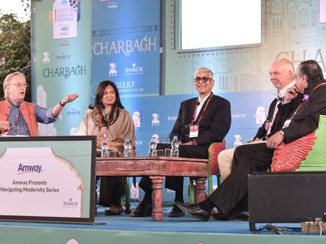Chairman and managing director of Biocon Limited, Kiram Mazumdar Shaw (second from left), John Elliott (left), former SEBI chairman of Jaipur Foot fame, DR Mehta(centre), president of Ford India, Nigel Harris (second from right) and secretary general, Ficci, A Didar Singh during a session Make in India at the Jaipur Literature Festival 2016 in Jaipur on Sunday.