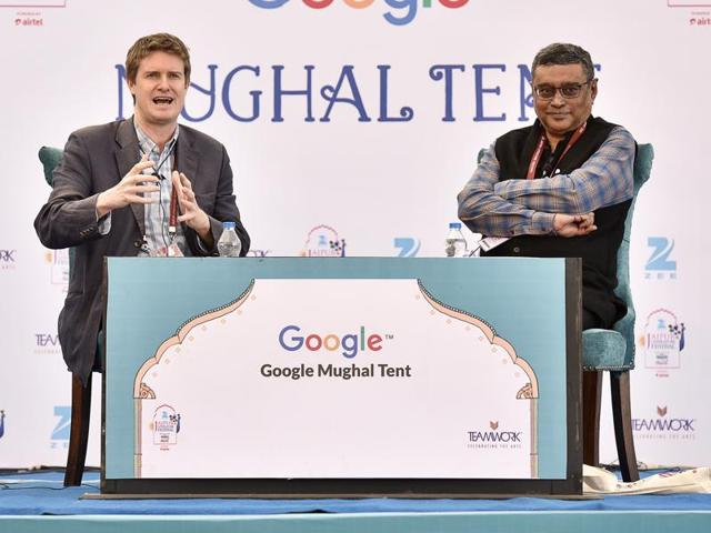 Tristram Hunt (L) and Swapan Dasgupta (R) during the session Cities of Empire at Jaipur literary festival 2016, in Jaipur on Saturday