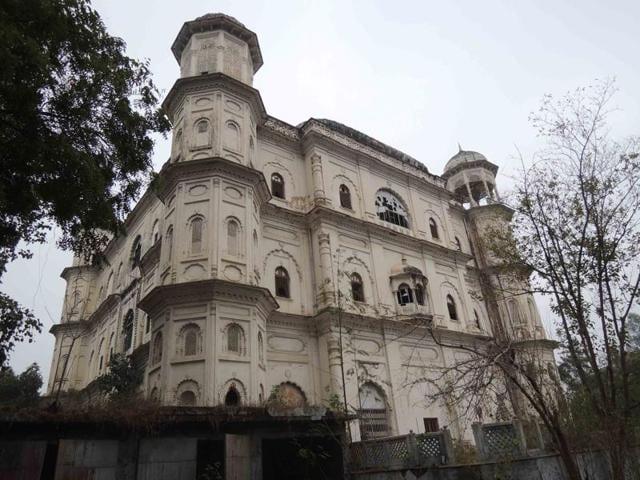 Lawrie building, one of the enemy properties owned by Raja Mehmudabaad in upmarket Hazratganj market  in Lucknow.