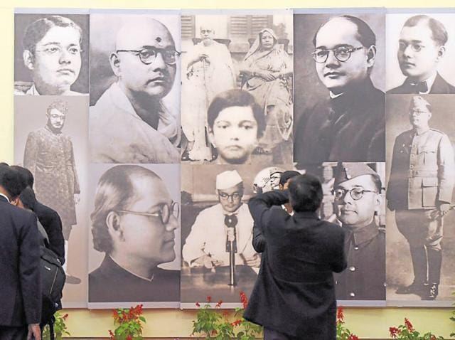 People at an exhibition after the release of digital copies of 100 declassified files related to Netaji Subhas Chandra Bose, at the National Archives of India in New Delhi on Saturday.