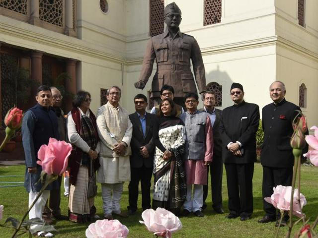 Netaji Subhash Chandra Bose's grandnephew Chandra Bose, niece Chitra Bose and others  at the Parliament House during a function to pay tribute to the freedom fighter on his 119th birth anniversary, in New Delhi on Saturday, January 23, 2016.