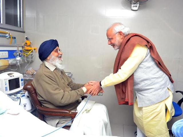 Prime Minister Narendra Modi with Punjab chief minister Parkash Singh Badal at the PGI in Chandigarh on Sunday.