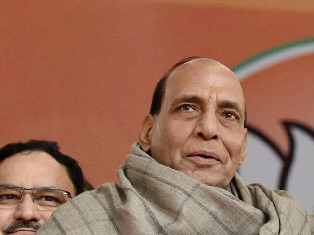 Rajnath Singh will meet President Pranab Mukherjee on Monday to explain the circumstances under which the government decided to pull the plug on the state's Congress-led coalition government(PTI)