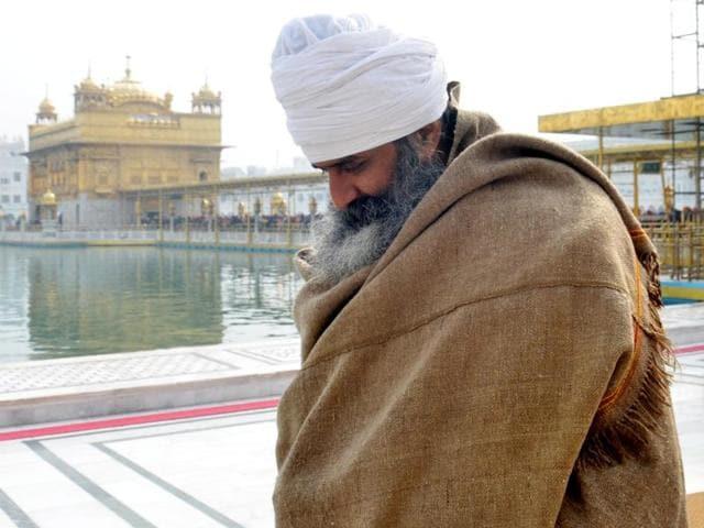 Former Khadoor Sahib MLA Ramanjit Singh Sikki inside the Golden Temple in Amritsar on Sunday.