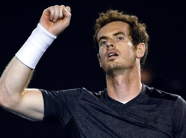 Andy Murray celebrates a game during his men's singles match against Australia's Bernard Tomic.