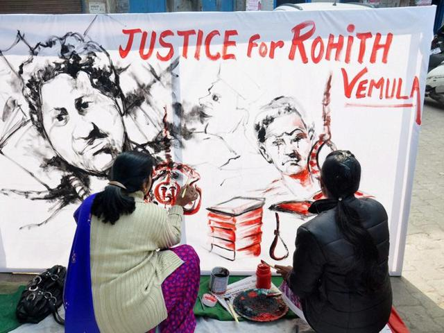 Artists from Moradabad pay tributes to Rohith Vemula.