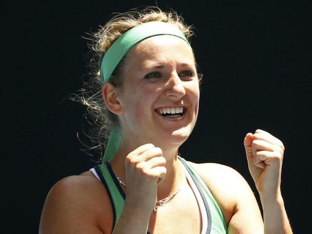 Victoria Azarenka plays a forehand return during her women's singles match against Barbora Strycova.