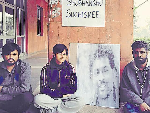 New Delhi, India - Three JNU students on hunger strike in solidarity with Rohith Vemula. (Picture courtesy - JNU Students)