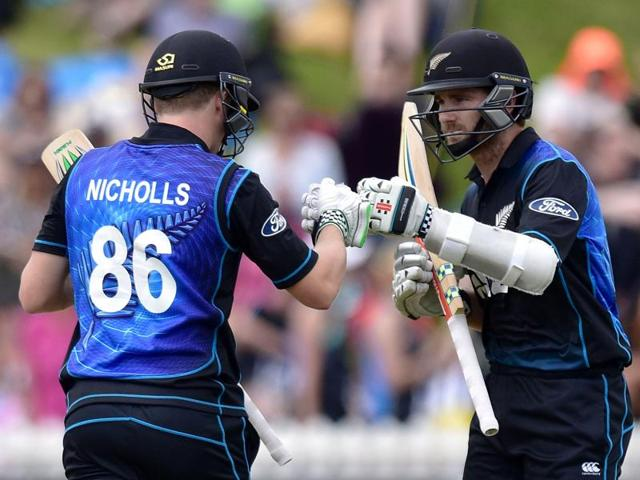 New Zealand's Henry Nichols plays a shot during the first one-day international against  Pakistan.