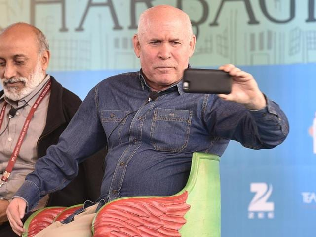 Renowned photographer Steve McCurry during session Outside In, Inside Out: Decoding India`s Visual Culture at the Jaipur Literature Festival in Jaipur on Sunday.