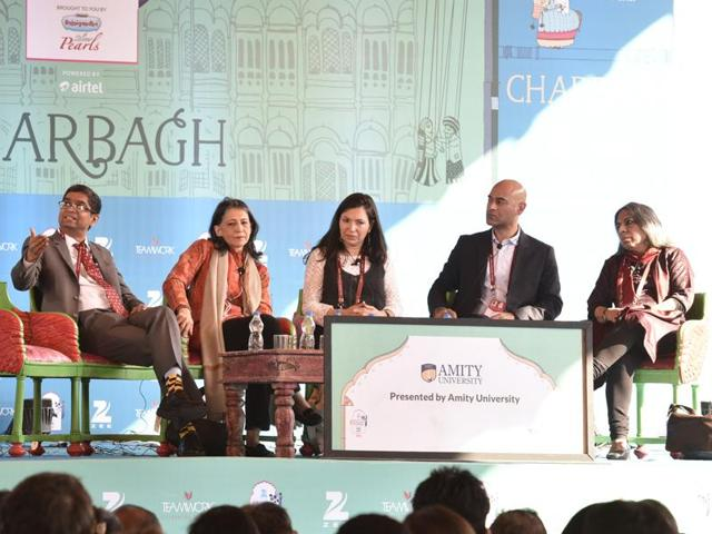 From left: Venkat Dhulipala, Ayesha Jalal, Yasmin Khan, Nisid Hajari and Urvashi Butalia during the session The Great Partition at the Jaipur Literature Festival 2016, in Jaipur on Sunday.