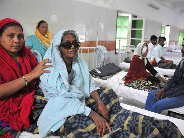 The eye treatment scare is haunting the state for the third time in the last three months. (Above) One of the 46 patients who lost their vision after a cataract surgery at a Barwani camp in November.
