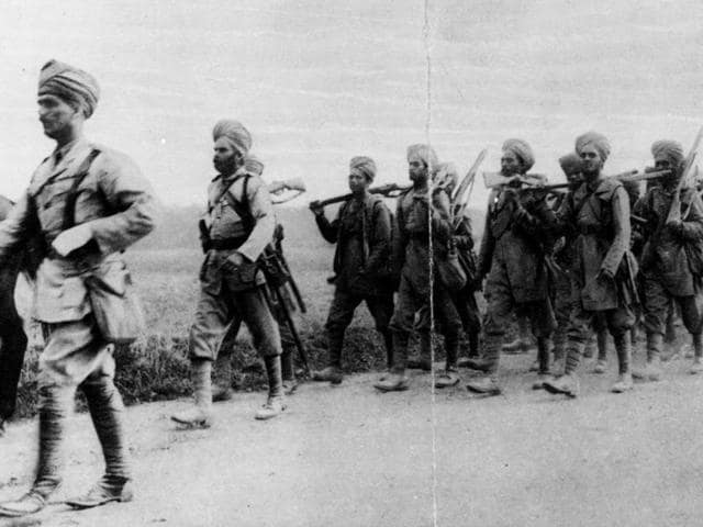 October 1914: Indian infantrymen on the march in France during World War I.