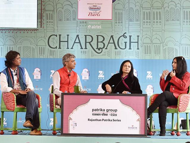 Journalists Avirook Sen (left), Rohit Gandhi (second from left), Madhu Trehan (second from right) and Shoma Chaudhury during the session Trial by Media at the Jaipur Literature Festival in Jaipur on Monday.