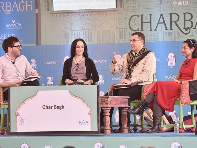 Journalist Jonathan Shainin (left) moderating the session, Eyeless in Gaza with Molly Crabapple (second from left) OmarBarghouti (second from right) and Laleh Khalili (right) at the Jaipur Literature Festival in Jaipur on Monday.(Sanjeev Verma/HT Photo)