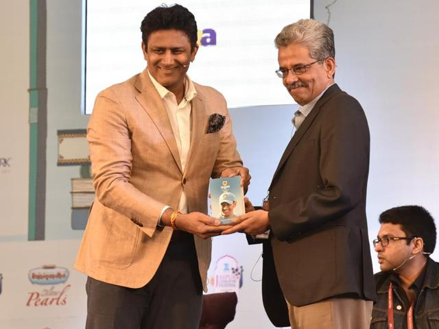 Cricket legend Anil Kumble with Suresh Menon, editor of the Wisden India Almanack during the session The India at Play at the Jaipur Literature Festival 2016 in Jaipur.