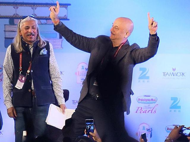 Actor Anupam Kher at the closing session of the Jaipur Literature Festival, titled Is Freedom of Speech Absolute and Unconditional? in Jaipur on Monday.