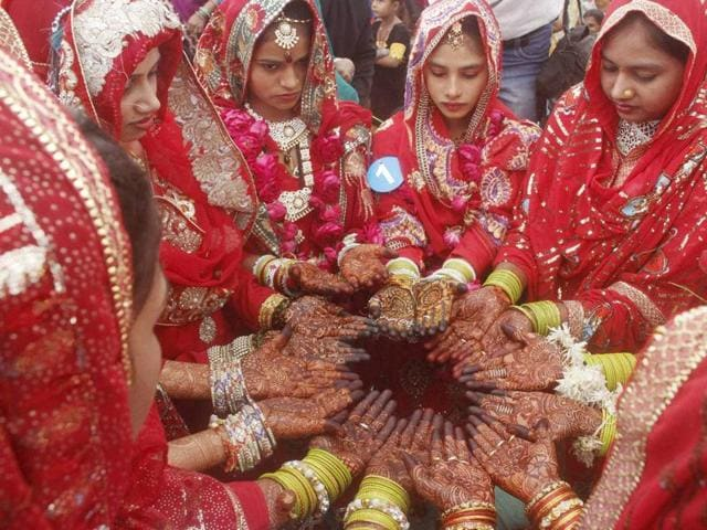 Muslim brides during a mass marriage ceremony in Ahmedabad on Saturday.