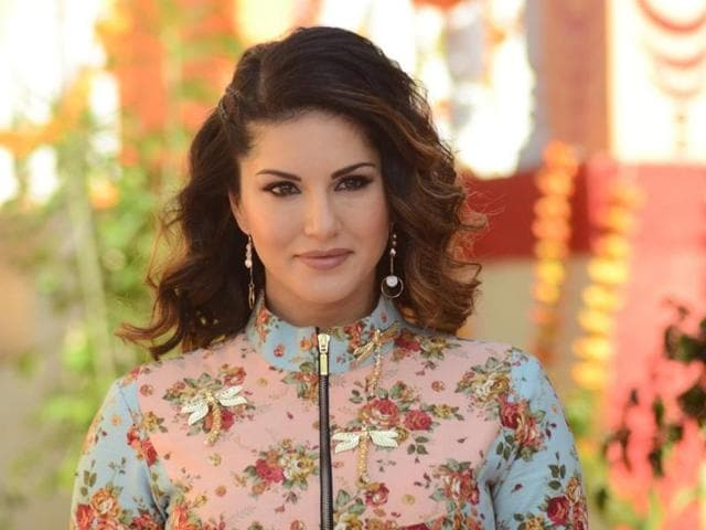 Actress Sunny Leone during the promotion of film 'Mastizaade' in Mumbai on Monday.
