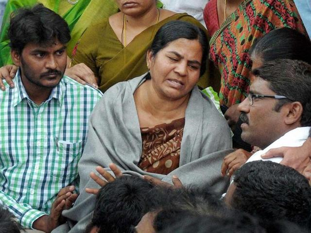 Rohith Vemula's mother Radhika was hospitalised after she complained of chest pain on Sunday night.