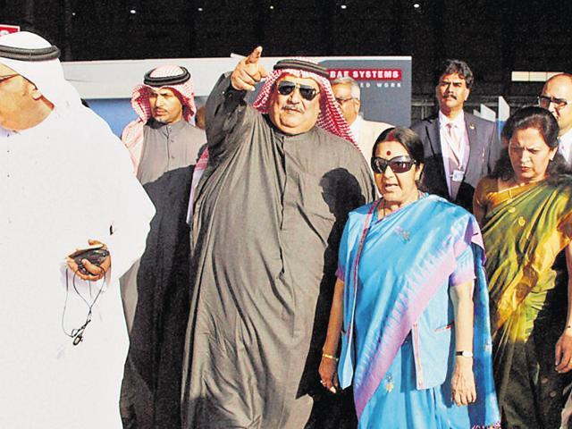 Minister of external affairs Sushma Swaraj in Manama, Bahrain on Saturday.(PTI)