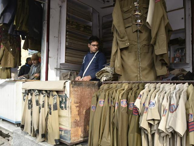 At these shops in  GTB Nagar, New Delhi, the uniform of Delhi Police is made for bulk and private orders on demand .