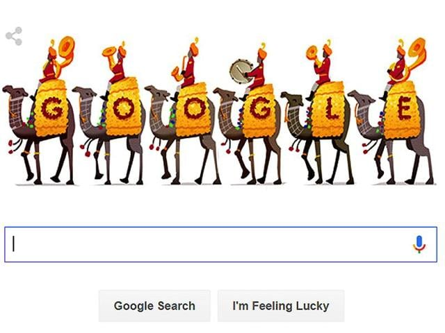 Google celebrated India's 67th Republic Day by featuring a tableau of camels draped in gold and red.(Picture courtesy: (Screengrab) Google)