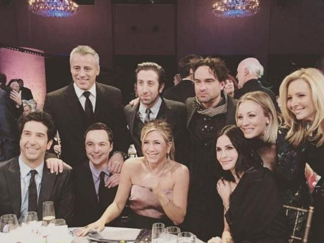 The picture has Jennifer Aniston, Courtney Cox, Lisa Kudrow, Matt Le Blanc, David Schwimmer but unfortunately, no Mathew Perry (sorry Chanadler Bong fans). Joining them are Jim Parsons, Johnny Galecki, Simon Helberg and of course Kaley Cuoco.