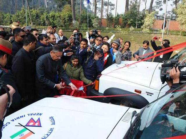Indian ambassador Ranjit Rae gifts ambulances and buses to organisations in Nepal on the occasion of India's 67th Republic Day.