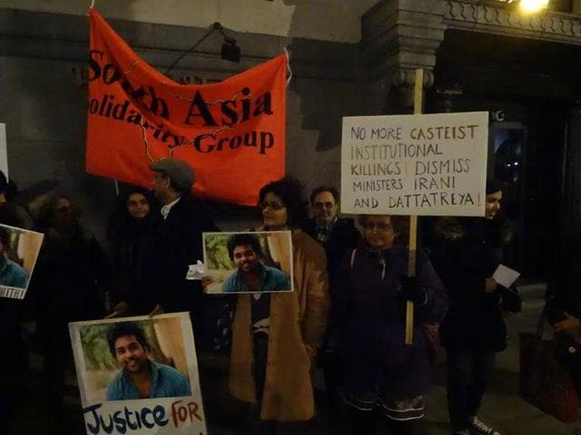 Several Dalit organisations and members of academia held a candlelight vigil in support of Rohith Vemula outside the Indian high commission in London on Monday.