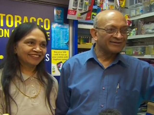 Natu Patel and his wife at their shop in Worcester.(BBC TV grab)