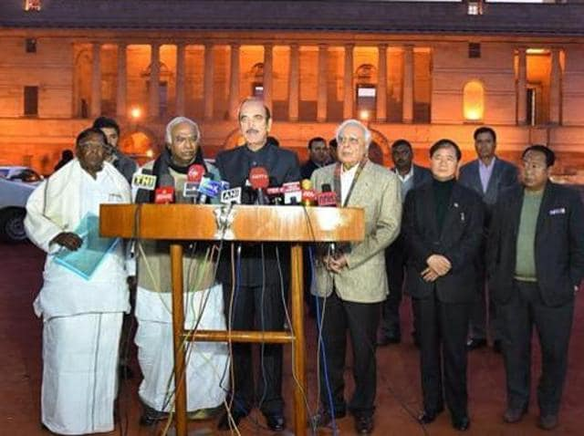 Senior Congress leaders Ghulam Nabi azad , Kapil Sibal, Mallikarjun Kharge, Arunachal Pradesh chief minister Nabam Tuki spoke to the media after meeting President Pranab Mukherjee on Monday.