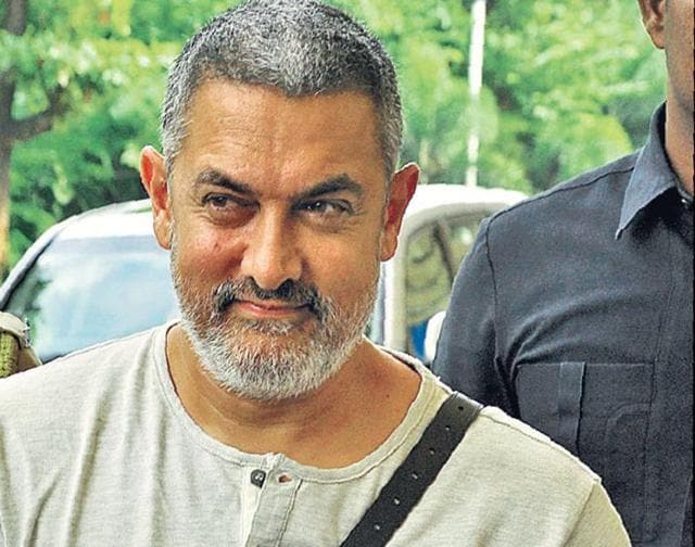 Aamir Khan arrives for the shooting of Dangal in Ludhiana on Sunday.
