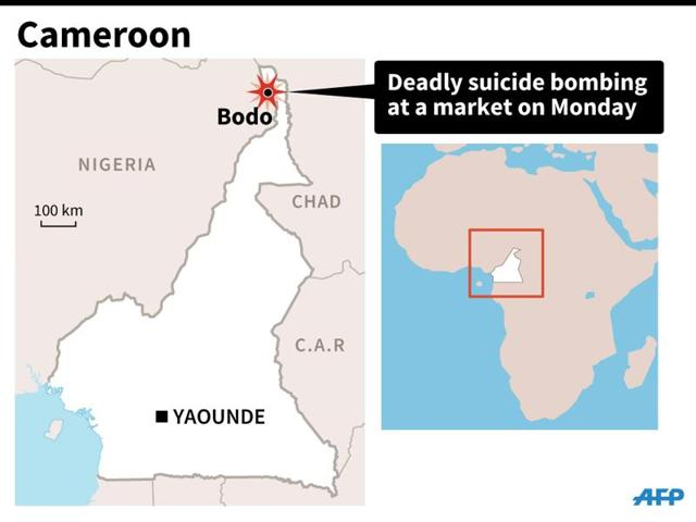 Map of Cameroon locating Bodo village, where at least 32 people were killed in suicide bombing on Monday.