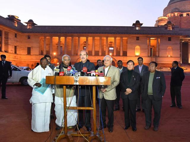 Senior Congress leaders Ghulam Nabi azad , Kapil Sibal,  Mallikarjun Kharge, Arunachal Pradesh chief minister Nabam Tuki spoke to the media after meeting President Pranab Mukherjee on Monday.