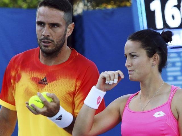 A file photo of  photo of David Marrero with his partner Lara Arruabarrena at the Australian Open.