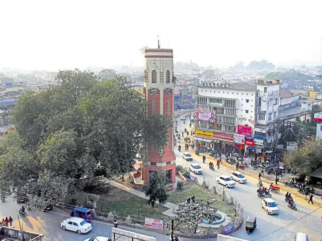 A view of the Clock Tower in Dehradun. The city is on alert for Republic Day celebrations.