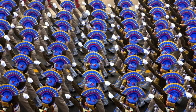 Indian security forces march during the Republic Day parade in New Delhi, India.
