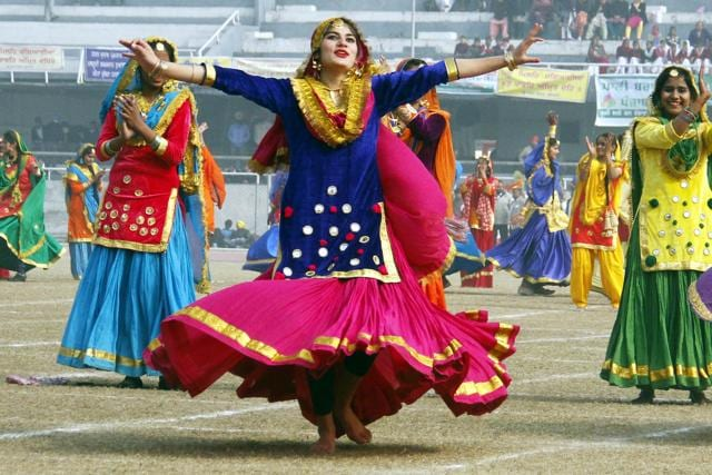 Students participating in cultural programs on the occasion of Republic Day at Guru Nanak Stadium in Ludhiana.
