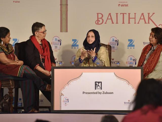 Writer Sumathy Sivamohan (left), Laxmi Murthy (secnd from left), author Essar Batoola (second from right) and Bangladesh academic Meghna Guhathakurta (right) during the session Body of Evidence: Sexual Violence and the Search for Justice in South Asia at the Jaipur Literature Festival 2016 in Jaipur on Sunday.
