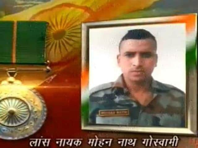 Lance Naik Mohan Nath Goswami, who killed 10 guerrillas in Jammu and Kashmir before attaining martyrdom, was posthumously awarded Ashok Chakra on Tuesday. It was received by his wife Bhavna Goswami on the occasion of India's 67th Republic Day.