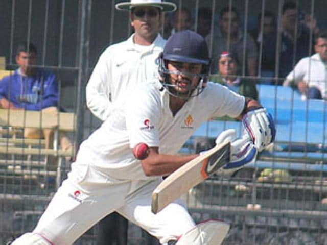 Manish Pandey plays a shot for Karnataka in a Ranji match against MP in Indore in this file photo.(Shankar Mourya/ HT photo)