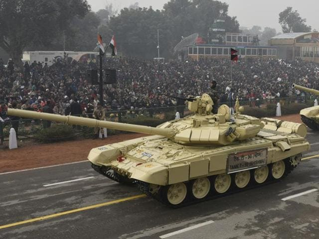 T-90 Bhishma tanks on Rajpath during the Republic Day parade in New Delhi on Tuesday.