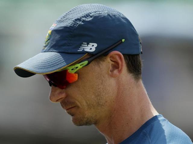 South African bowler Dale Steyn celebrates after dismissing England's batsman James Taylor.