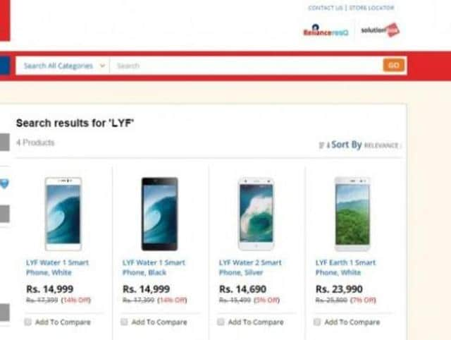 Three Jio LYF smartphones called Earth 1, Water 1 and Water 2 now listed on the company's digital store with price and full specifications.